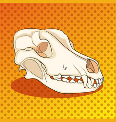 Pop art skull dog sideways color background vector