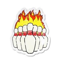 Retro distressed sticker of a cartoon flaming vector