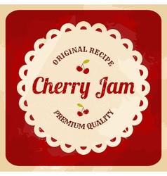 retro style cherry jam label vector image