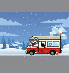 Santa driving rv truck for holiday vector
