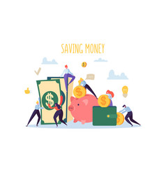 saving money finance concept flat people vector image