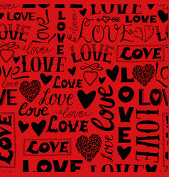 seamless pattern with words love hearts and vector image