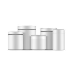 Set blank plastic jars mockups vector