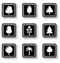set buttons with tree vector image