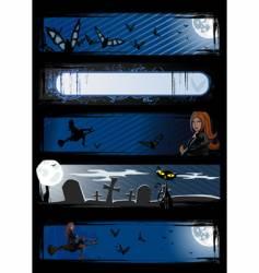 Set halloween banners vector