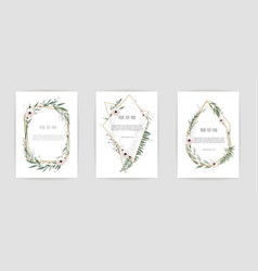 Set of card with leaves and geometrical frame vector