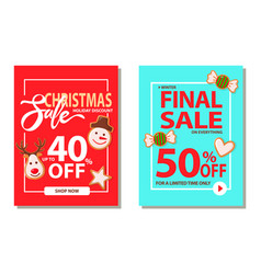 set of pages with christmas final sale vector image
