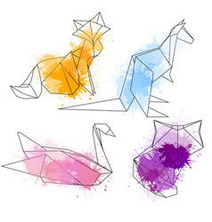 set of polygonal contour animals with watercolor vector image