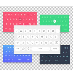 set of qwerty mobile keyboards keys vector image