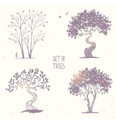 set tree silhouette vector image