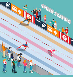 skating track isometric composition vector image