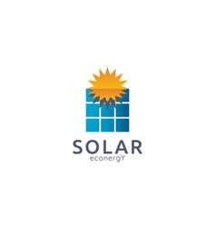 solar panel energy logo icon zero waste concept vector image