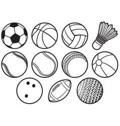 Sport balls thin line icons set - beach tennis a vector