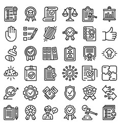 standard icons set outline style vector image