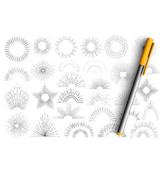 star and sun rays doodle set vector image