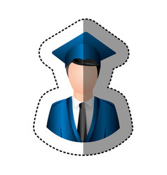 Sticker half body man with graduation outfit vector