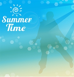 Summer time poster tropical beach vector image