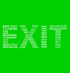 the word exit is in sixty-eight languages vector image