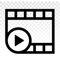 Video or movie clip play line art icon for apps vector
