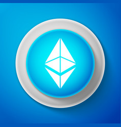 white cryptocurrency coin ethereum eth icon vector image