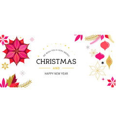 white merry christmas greeting card vector image