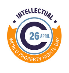 World intellectual property rights day round logo vector