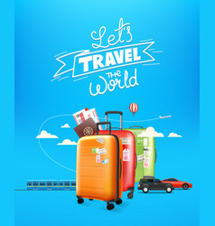 World travel concept with lettering logo travel vector