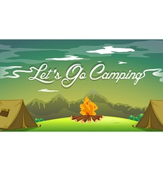 A poster showing a campsite vector image vector image