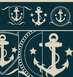 Anchors vintage set vector image vector image