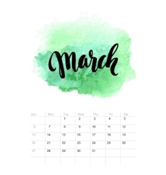 Calendar with watercolor paint 2016 design vector image vector image