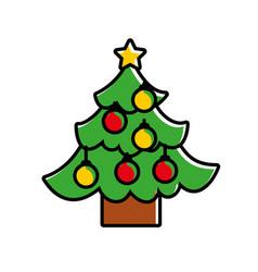 christmas tree pine star and balls decoration vector image