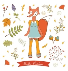 Hello autumn elegant card with cute fox character vector image vector image