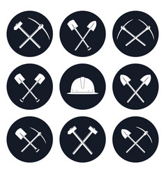 set round icons of construction tools vector image vector image