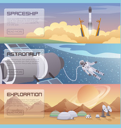 space discovery horizontal banners vector image
