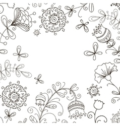 black and white floral doodle pattern vector image