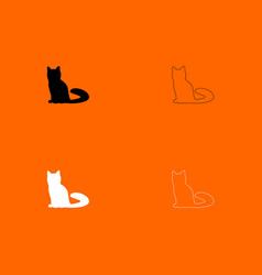 cat black and white set icon vector image vector image