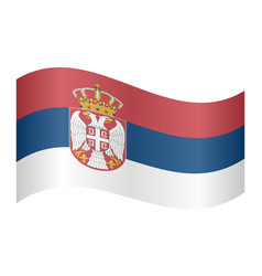 flag of serbia waving on white background vector image vector image