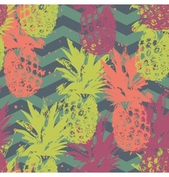 Seamless pattern with pineapple on chevron vector image vector image