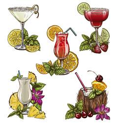 set of five summer cocktails vector image vector image
