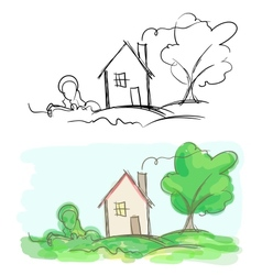 sketches of village house and tree Black and white vector image