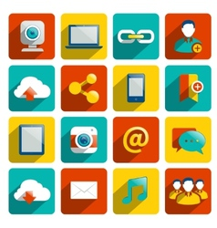 Social Media Icons Flat vector image vector image