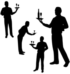waiters silhouettes vector image vector image