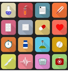 16 flat icons of health and medicine vector