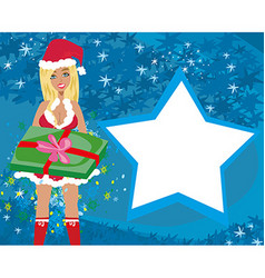 beautiful girl in Christmas costume - Christmas vector image vector image