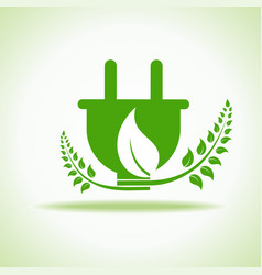 eco plug with green leaf stock vector image vector image