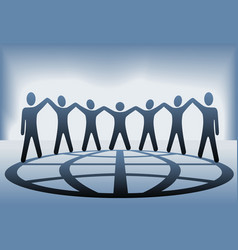 global people hold up hands vector image