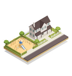 playground near residential house isometric vector image vector image