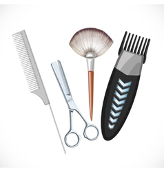Set hairdressing tools vector