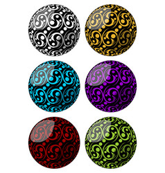 Set of spheres with swirly pattern decoration in vector