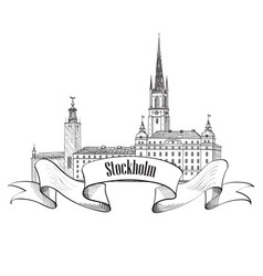 stockholm city label isolated travel sweden vector image vector image